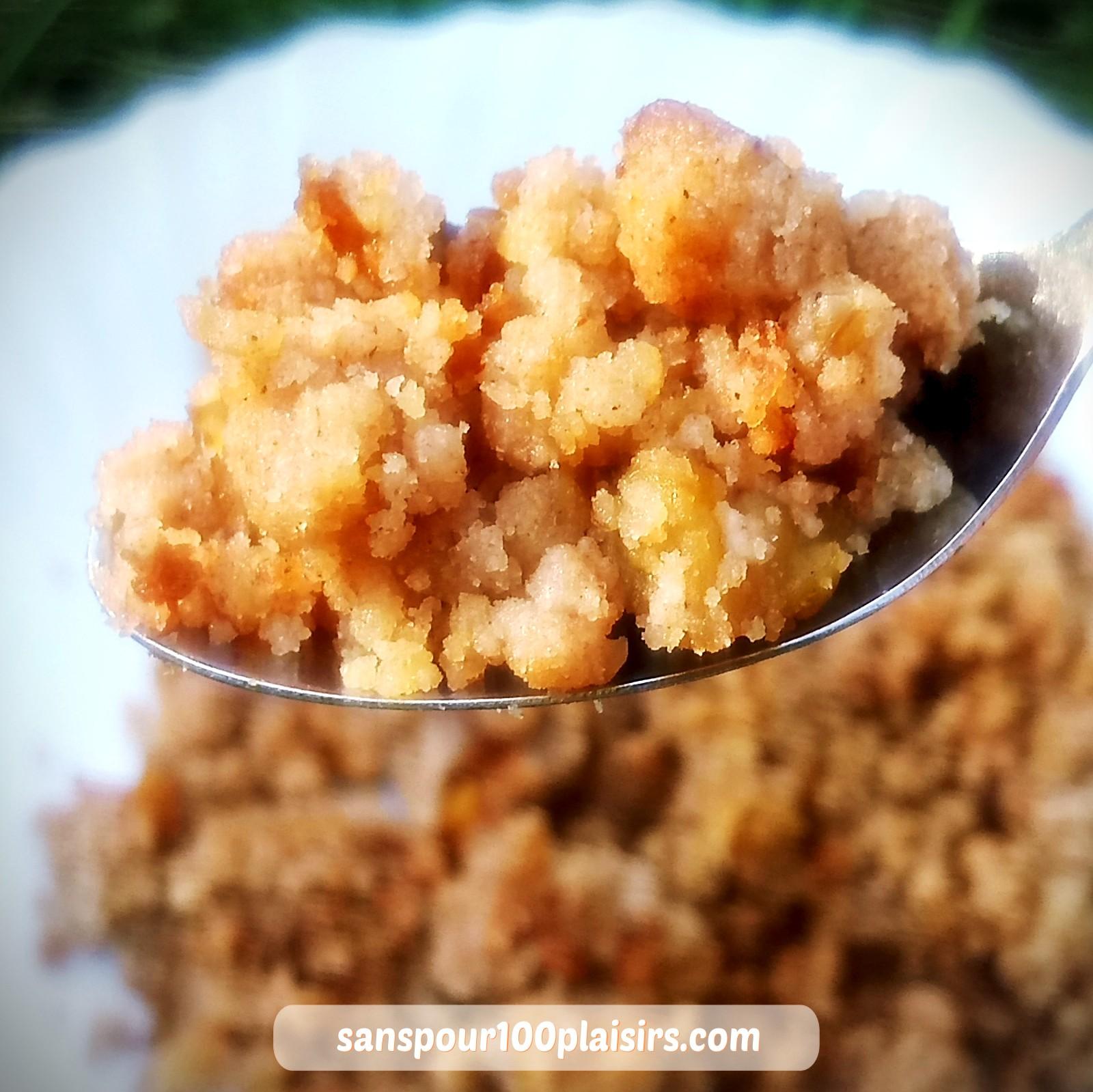 crumble de sorgho et millet aux pommes et noix, sanspour100plaisirs.com